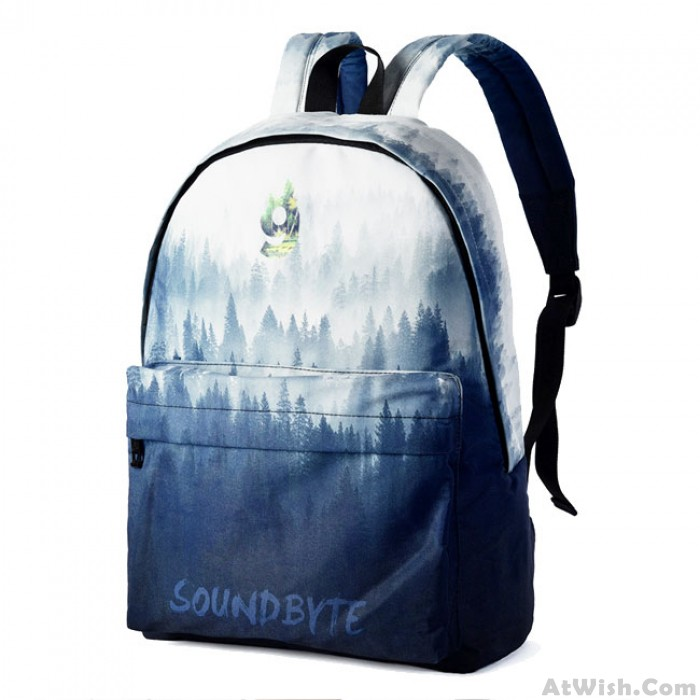 Leisure Blue Ink Painting Tree Forest Canvas Large High School Bag Backpack