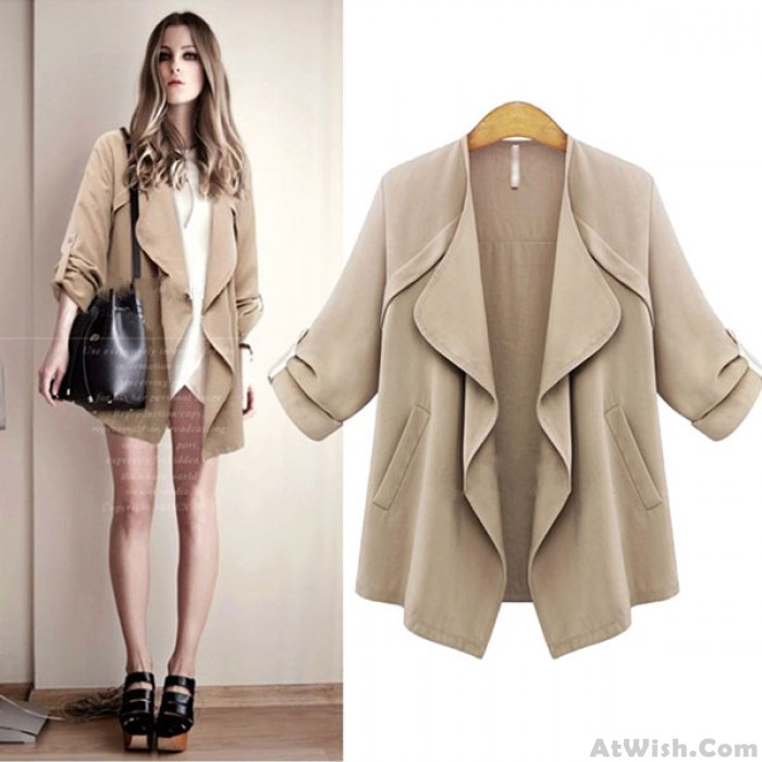 New Autumn Fashion Lapel Wavy Collar Solid Rolled Sleeves Casual Coat