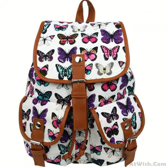 Leisure Butterfly Print Women Rucksack Two Pockets College Bag Canvas Backpack