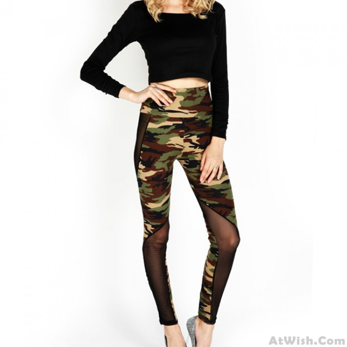Through Camouflage Splicing Ninth Skinny Sexy Girl's Mesh See  Mesh Legging
