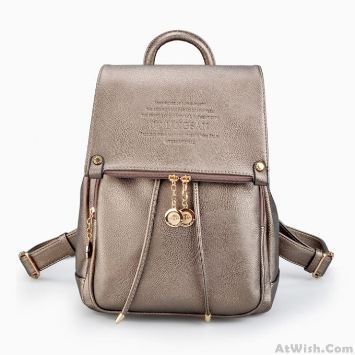 Lady Double Zipper Button Backpack Solid Color Travel Bag