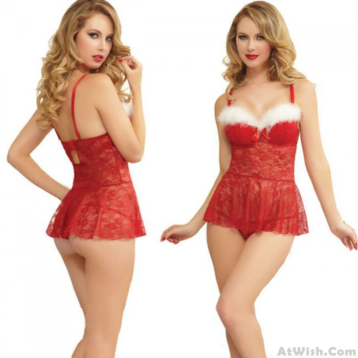 Sexy White Fur Red Christmas Dress Red Lace Perspective Pajamas Lingerie