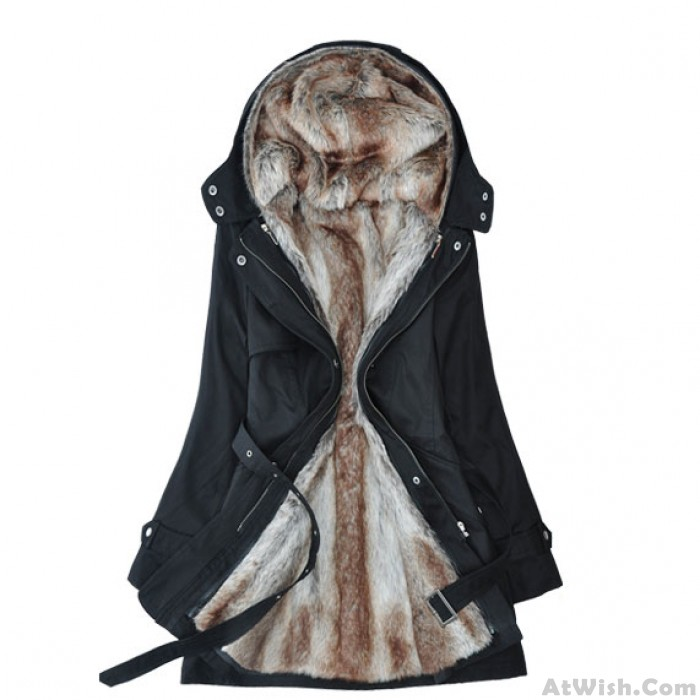 Detachable Plush Liner Thick Cotton Windbreaker Jacket Coat