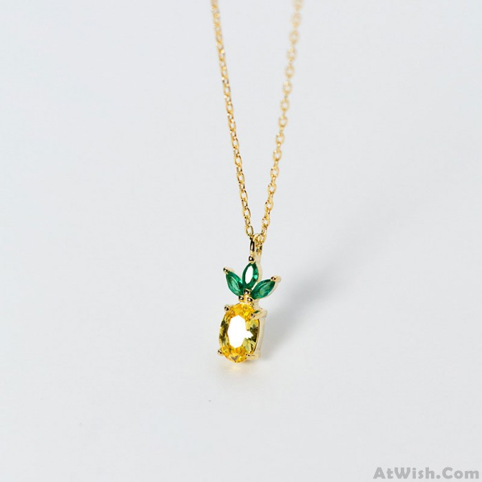 Unique Pineapple Pendant Golden Crown Fruits 925 Silver Crystal Women's Necklace Rings Earrings Studs