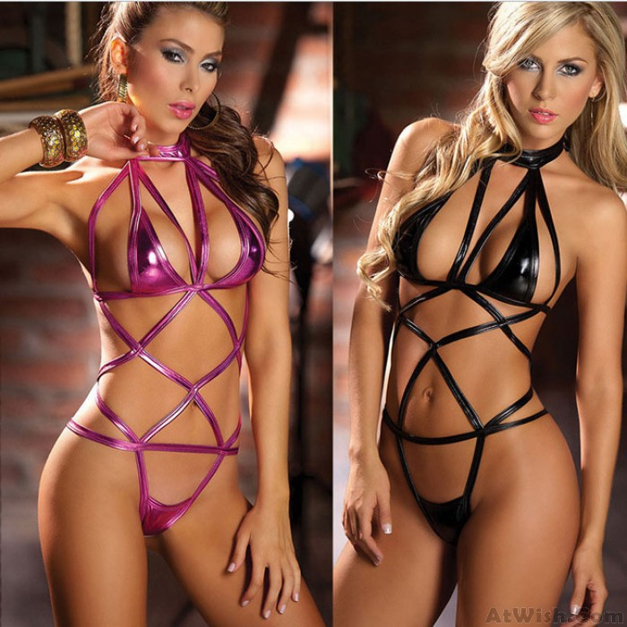 Sexy Patent Leather Bundle Hollow Women's Lingerie