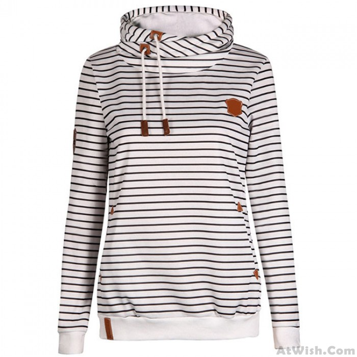Fashion Women's Casual Striped Autumn Winter Cashmere Wool Sports Overcoat Hoodie Pullover Sweater
