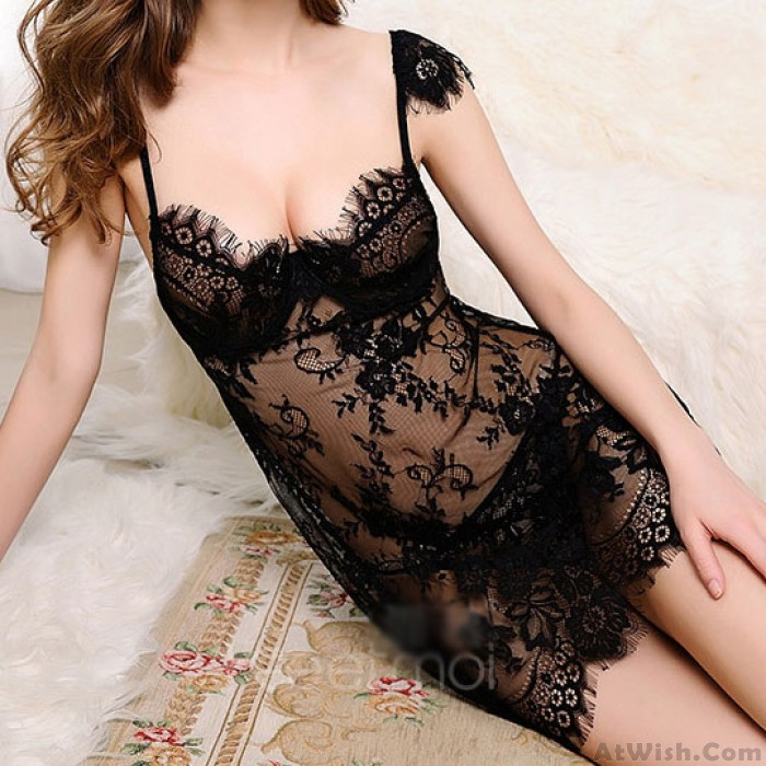 Sexy Women's Lace See Through Flower Embroidery Push Up Braces Skirt Lingerie