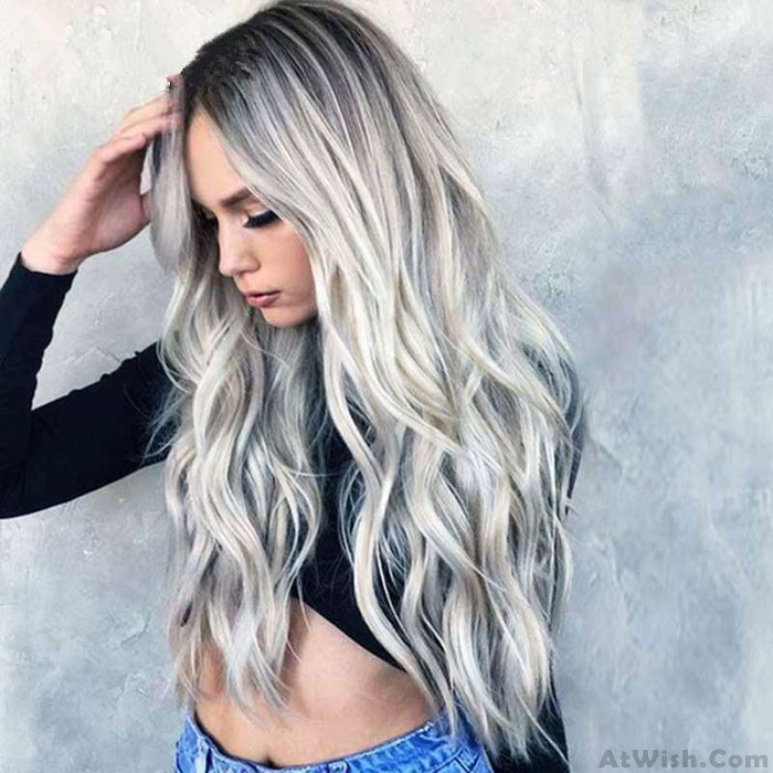 New Gray Gradient Separate Middle Long Cosplay Wig Wavy Curly Hair Wig
