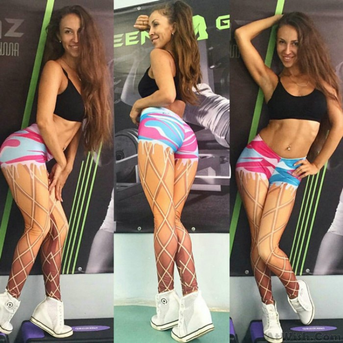 Lines Lace-up Printing Show Unique Girl's Imitating Real Legs  Thin Visual Effect Leggings