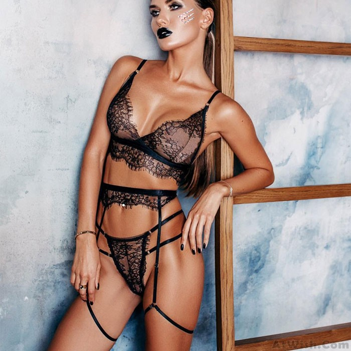 Sexy Three-piece Set Hollow Underwear Panties Lace Perspective Women's Lingerie