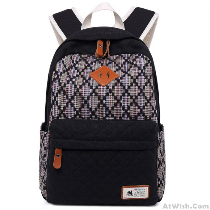New Lattice Thick Canvas Backpack Girl's Contrast Color Rhombus Student School Rucksack