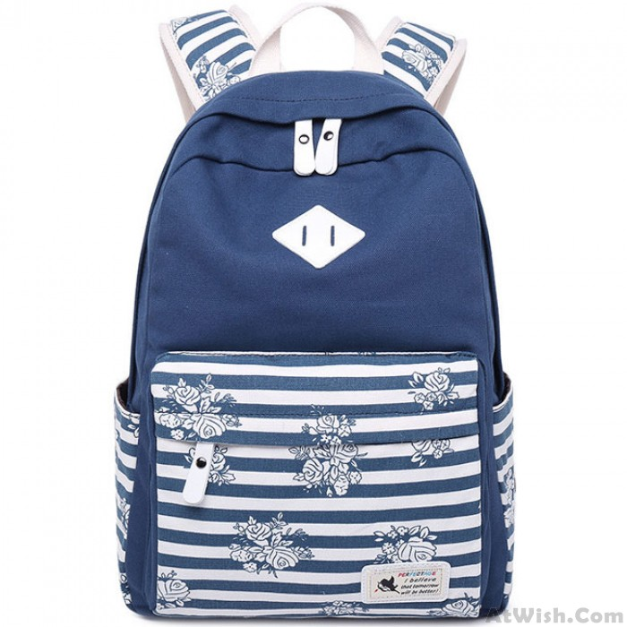 Retro Stripes Flowers Student Bag Large Travel Striped Canvas School Backpack