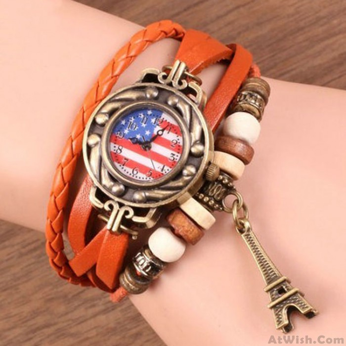 Retro American Flag Leather Strap Wrist Watches Rope Weave Eiffel Tower Bracelet Watch