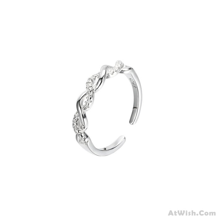 Fashion Simple Galaxy Twine Silver Winding Women Open Ring