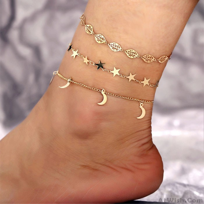 Retro Simple Star Moon Hollow Leaf Anklet Set 3-piece Set Creative Foot Accessory Anklet