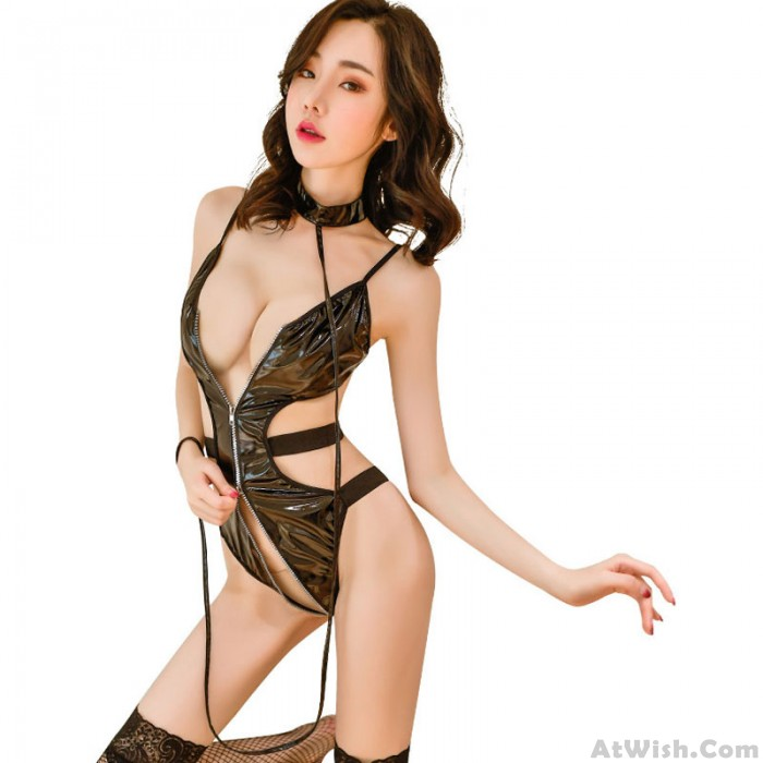 Sexy Black Bodysuit For Women Prisoner Bundle Cosplay Patent Leather One Piece Zipper Opening Teddy Lingerie