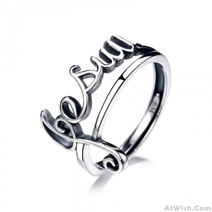 Fashion Music Note Clef Hollow Jesus Letter Hollow Open Ring Silver Gift For Music Lover Song Ring