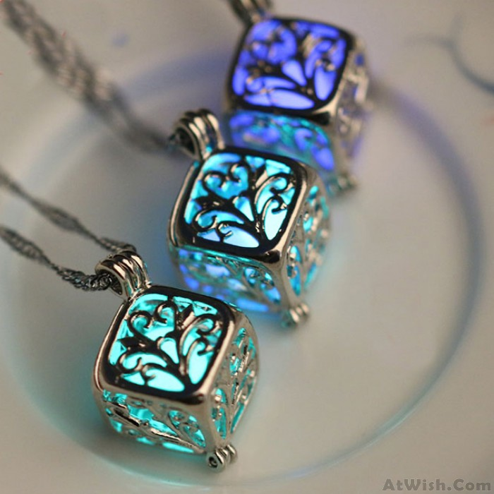 Cute Night Stone Pendant Clavicle Luminous Hollow Cubic Wishing Tree Women Chain Necklace