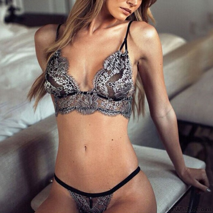 Sexy Women's See Through Lace Mesh Silver Embroidery Bikini T-back Lingerie