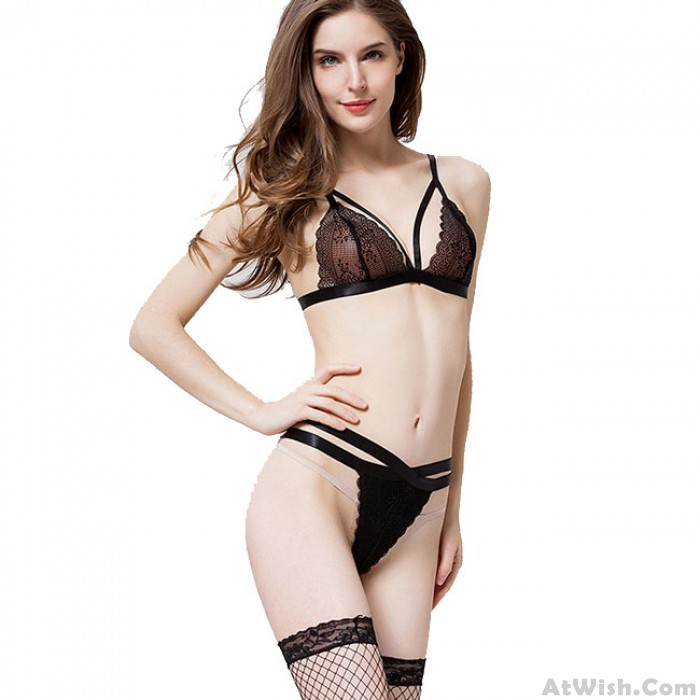 Sexy Lace Stitching 2 Pieces Women's Cross Underwear Lingerie