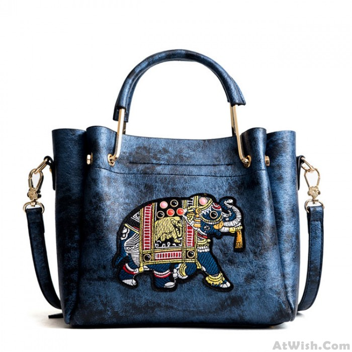 Cute Cartoon Bucket Bag Elephant Embroidery Handbag Shoulder Bag