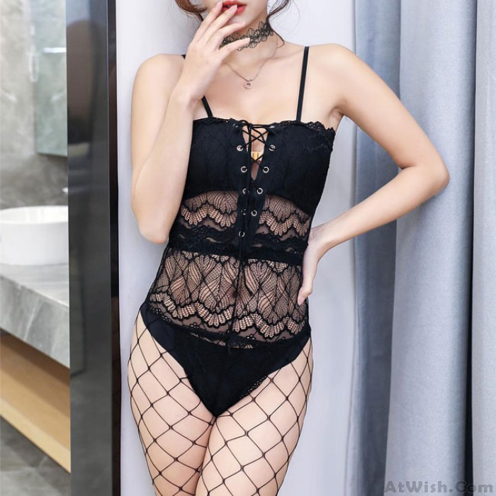 Sexy Black lace Slimming Hollow Perspective Bandage Conjoined Women Intimate Lingerie