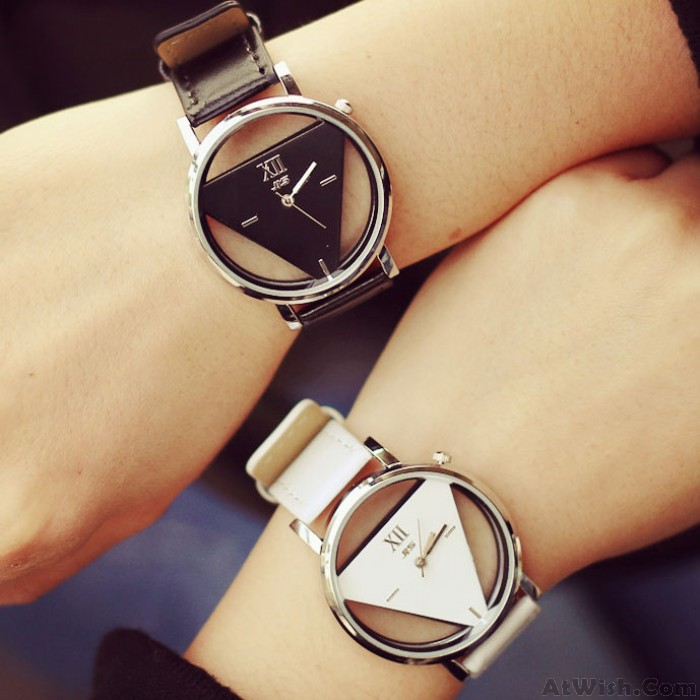 Fashion Simple Triangle Hollow Couple Transparent Students Watch