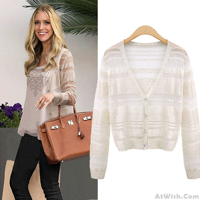 Sexy See-through Striped Cardigan Long Sleeves Sweater