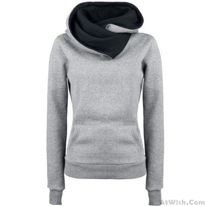 Fashion Turn-down Collar Hoodie Pullovers Coat Autumn Women's Thick jacket Sweater