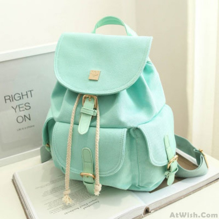 Fresh Mint Green Pure Color Girls Rucksack Candy Canvas College Backpack