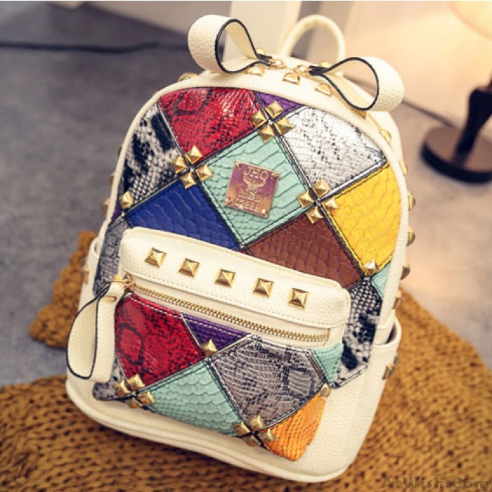 Fashion Mini Rivet Contrast School Rucksack Stitching Colorful Lady Backpack