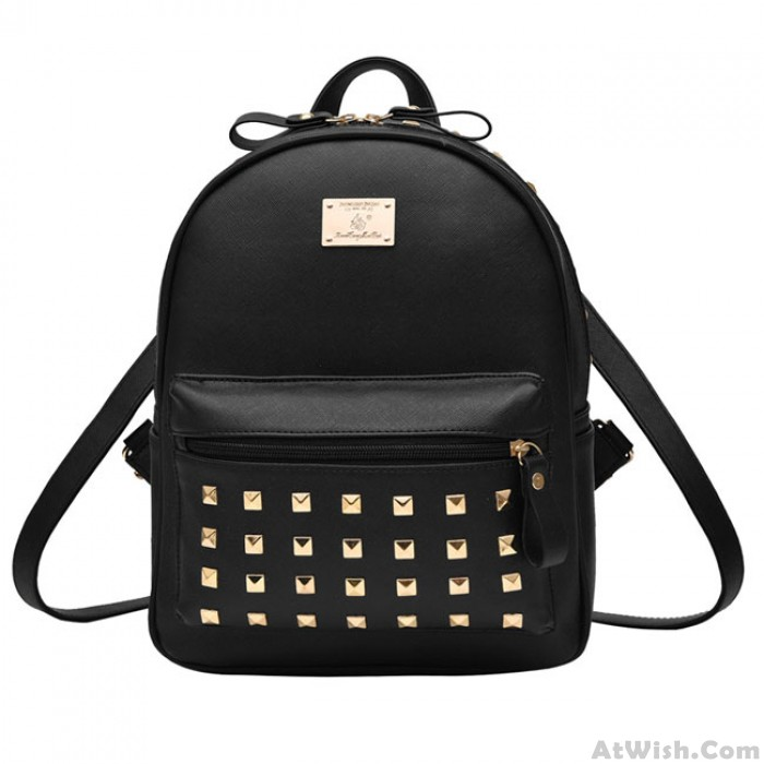 Punk Splicing Color Blocking Square Girl's Backpack School Rivets PU Travel Backpack