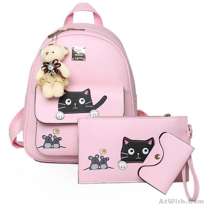 Cute Pink Mouse Splicing Cat Cartoon School Student Bag Gift Bear Doll PU Kitty Backpack
