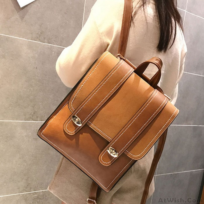 Retro Frosted Two Large Belts Square College Backpack PU School Bag