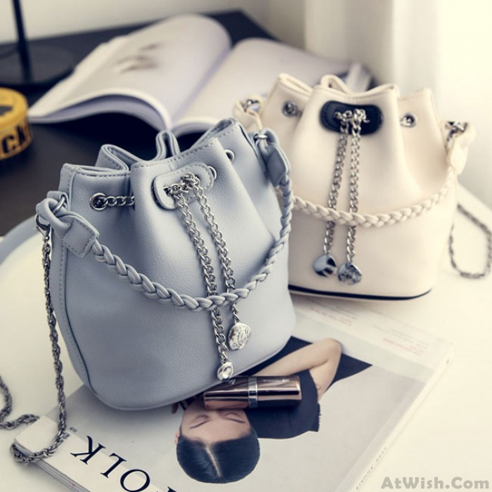 Unique Metal Chain Draw String Small Chain Lady Bucket  Weave PU Shoulder Bag