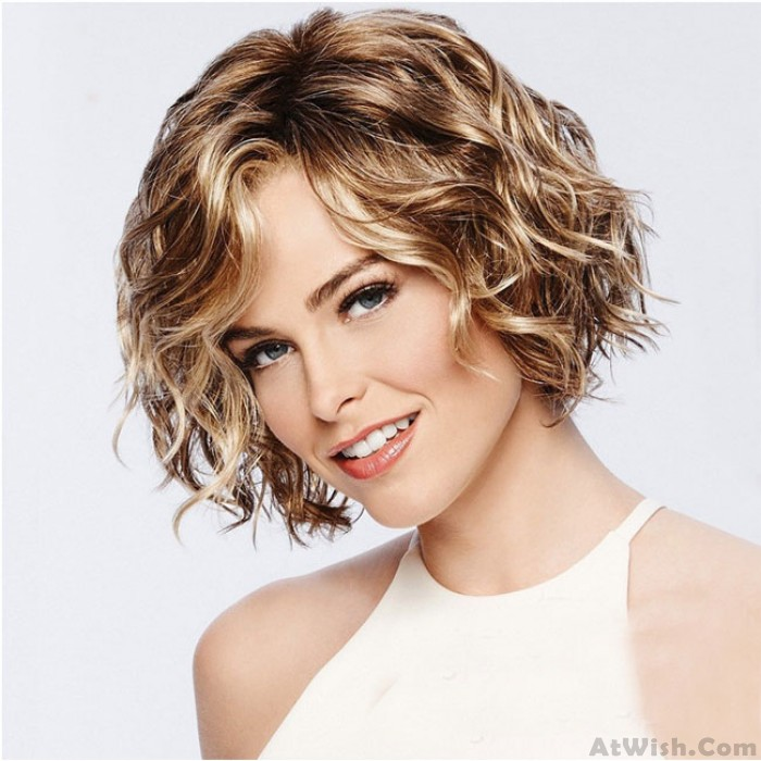 New Brown Short Roll Mixed Fluffy COS Headgear Wave Ladies Hair Wig