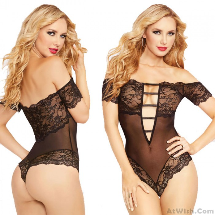 Sexy Hollow Deep V Temptation Perspective Lace Coveralls Conjoined Intimate Lingerie