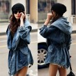 Cowboy Waist String Denim Hooded Windbreaker/Jacket/Coat