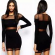 Perspective Gauze Stitching Bodycon Black Dress