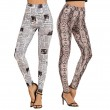 Fashion Unique Newspaper Camouflage Snakeskin Pattern Yoga Pants Girls Leggings