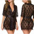 Sexy Lace Robe Lingerie For Women Kimono Nightdress Plus Size Middle Sleeve Nightgown Pajamas