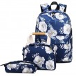 Retro Flower Ink Painting Three-piece Set Handbag Pen Bag Oxford School Backpack