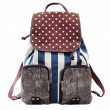 Retro Star Strip Print Canvas Backpack