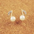 Lady Inlay Diamond Pearl Music Note Gilded Earrings
