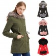 Fashion Fur Collar Thicken Cotton Mid-length Hooded Winter Warm Plus Velvet Overcoat Women Coat