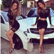 Special Nightclub Lace Stitching Perspective Two Piece Dresses