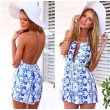 New Blue And White Printing Slim Sleeveless Halter Piece Romper&Jumpsuit