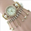 good Pearl Beaded Diamond Chain Tassel Bracelet Watch