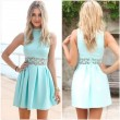 Mint Green Hollow Lace Top Neck Party Dress
