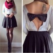 Fashion Backless Bow Long Sleeve Tops Blouse